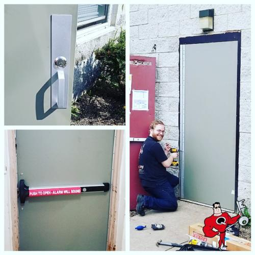 New commercial steel door installation